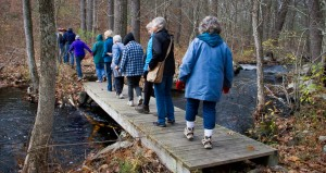 "Hikers cross the ""Boy Scout Bridge"" over Boston Brook"