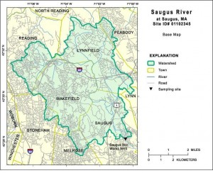 Map of Saugus River Watershed which abuts Ipswich River Watershed to its north - Internet photo