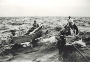 Banks dories with long lines were lowered daily from Gloucester and other ports' fishing schooners into the early 20th century. - Internet photo