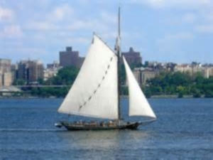 Sloop-environmental classroom Clearwater sailing on her charge, the once very dirty Hudson River   -   Internet photo